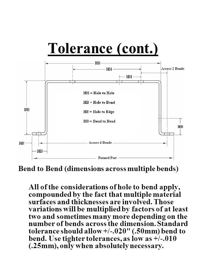 Tolerance (cont.) Bend to Bend (dimensions across multiple bends) All of the considerations of hole to bend apply, compounded by the fact that multipl