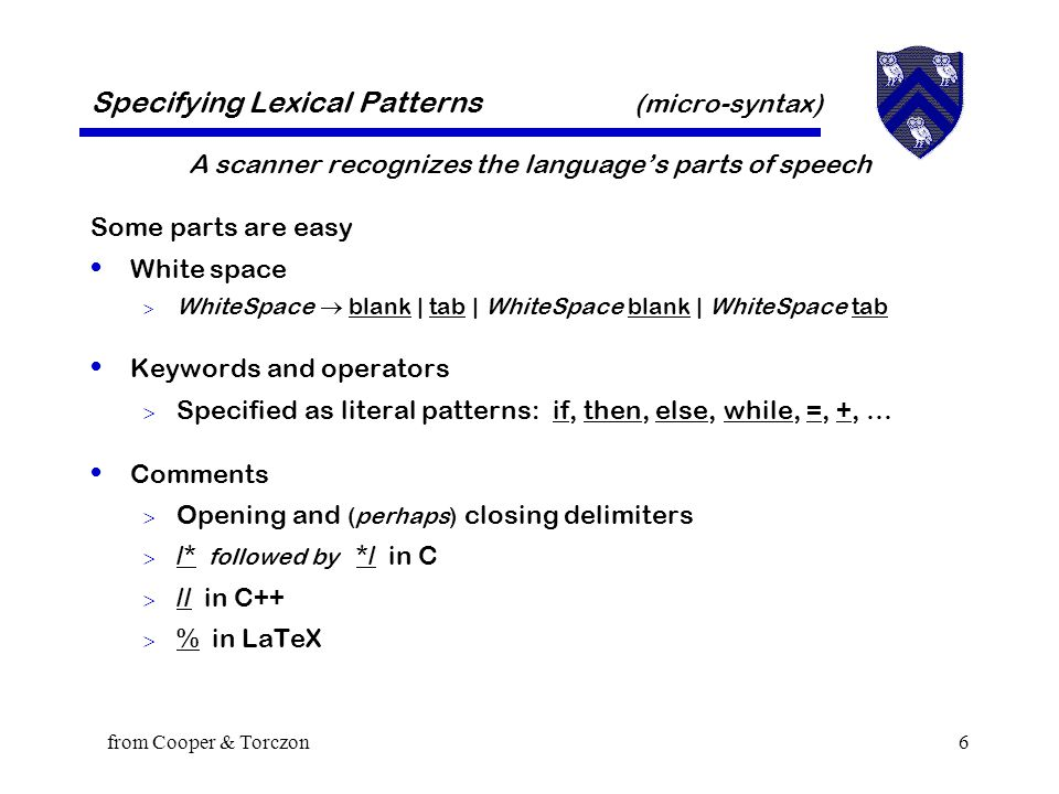 from Cooper & Torczon6 Specifying Lexical Patterns (micro-syntax) A scanner recognizes the language's parts of speech Some parts are easy White space  WhiteSpace  blank | tab | WhiteSpace blank | WhiteSpace tab Keywords and operators  Specified as literal patterns: if, then, else, while, =, +, … Comments  Opening and (perhaps) closing delimiters  /* followed by */ in C  // in C++  % in LaTeX