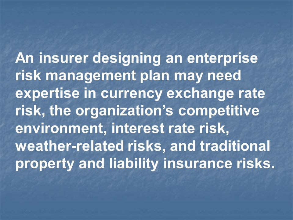 An insurer designing an enterprise risk management plan may need expertise in currency exchange rate risk, the organization's competitive environment,