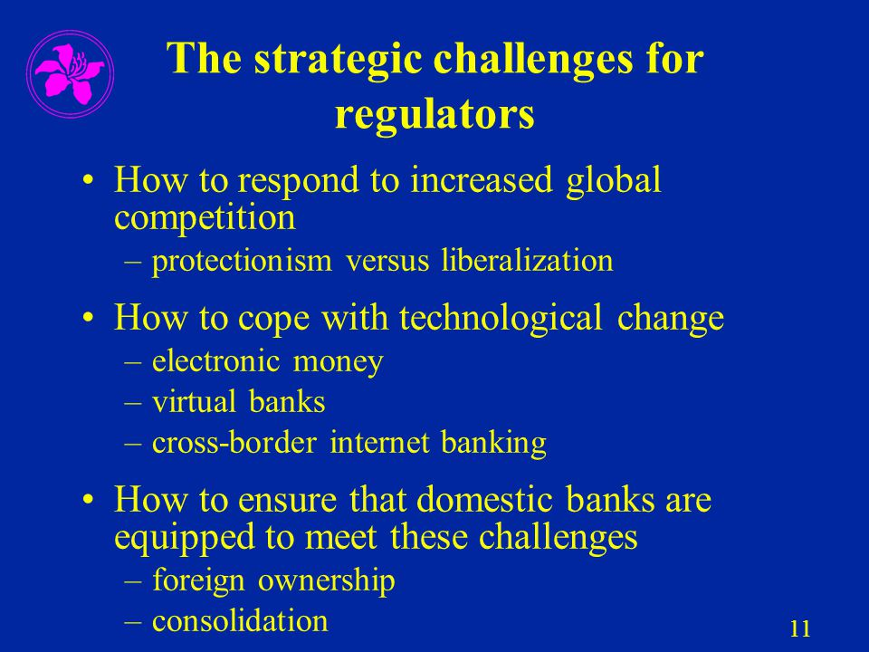 11 The strategic challenges for regulators How to respond to increased global competition –protectionism versus liberalization How to cope with techno