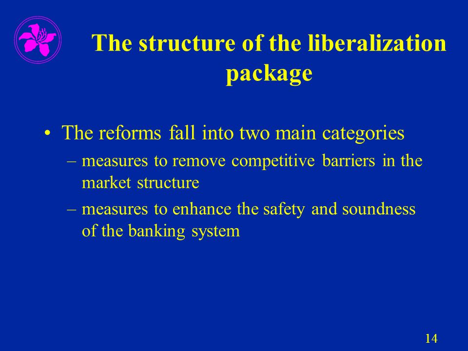 14 The structure of the liberalization package The reforms fall into two main categories –measures to remove competitive barriers in the market struct