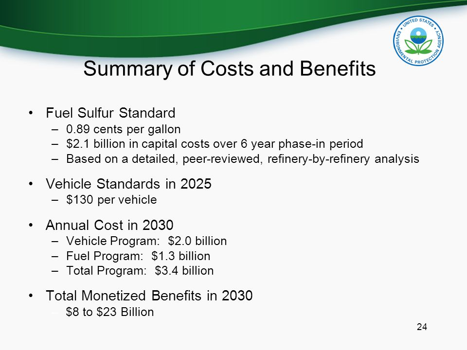 Summary of Costs and Benefits Fuel Sulfur Standard –0.89 cents per gallon –$2.1 billion in capital costs over 6 year phase-in period –Based on a detai