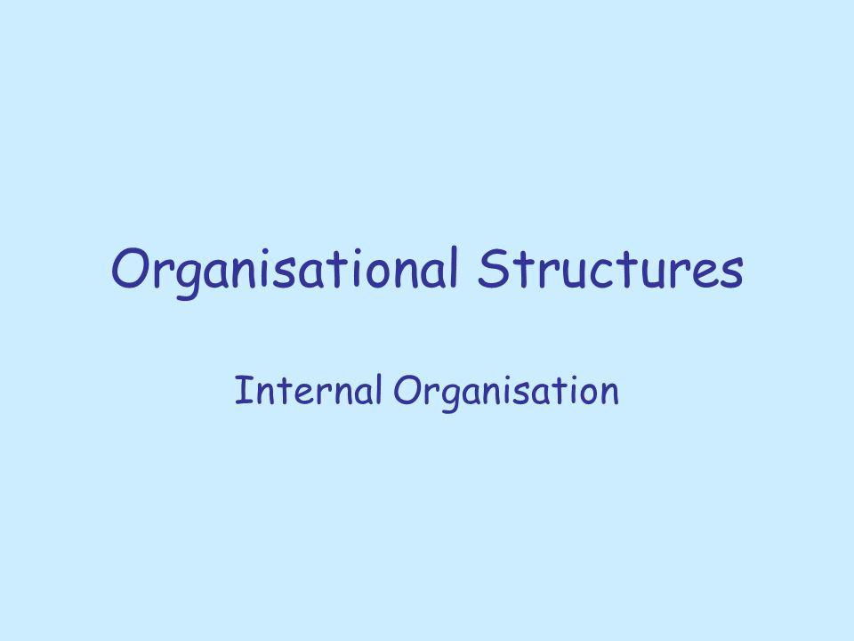 Organisational Structures Internal Organisation