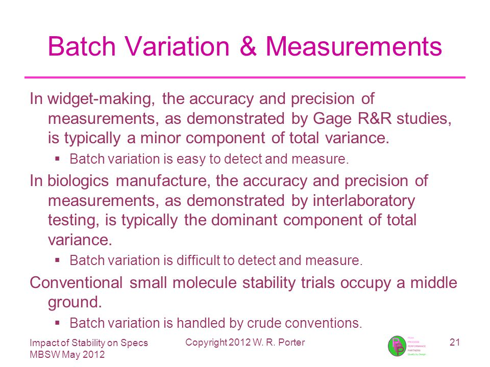 Impact of Stability on Specs MBSW May 2012 Batch Variation & Measurements In widget-making, the accuracy and precision of measurements, as demonstrated by Gage R&R studies, is typically a minor component of total variance.