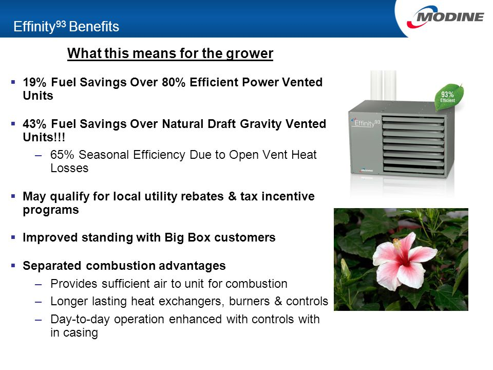 Effinity 93 Benefits What this means for the grower  19% Fuel Savings Over 80% Efficient Power Vented Units  43% Fuel Savings Over Natural Draft Gra