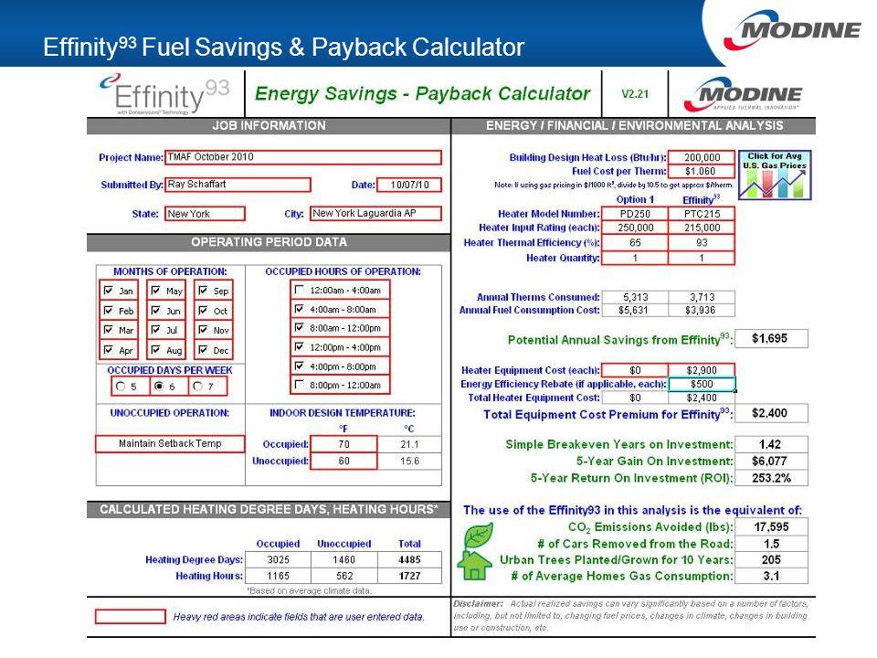 Effinity 93 Fuel Savings & Payback Calculator