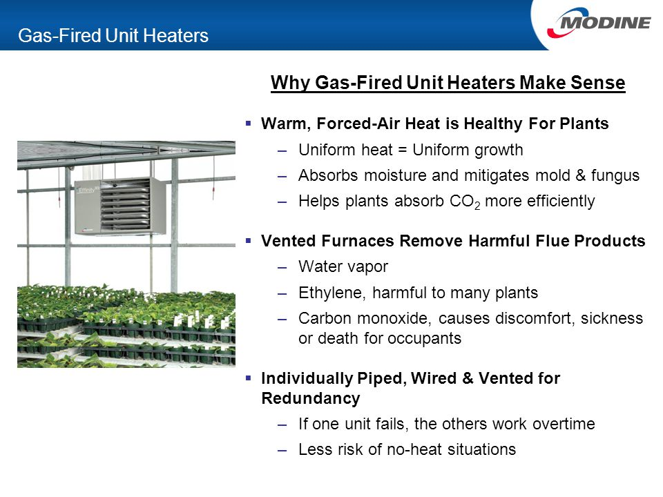 Gas-Fired Unit Heaters Why Gas-Fired Unit Heaters Make Sense  Warm, Forced-Air Heat is Healthy For Plants –Uniform heat = Uniform growth –Absorbs moisture and mitigates mold & fungus –Helps plants absorb CO 2 more efficiently  Vented Furnaces Remove Harmful Flue Products –Water vapor –Ethylene, harmful to many plants –Carbon monoxide, causes discomfort, sickness or death for occupants  Individually Piped, Wired & Vented for Redundancy –If one unit fails, the others work overtime –Less risk of no-heat situations