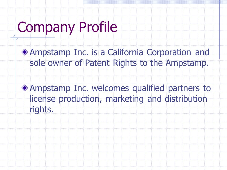 Company Profile Ampstamp Inc.