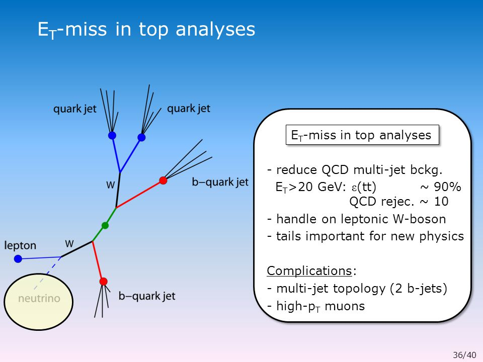 E T -miss in top analyses - reduce QCD multi-jet bckg.