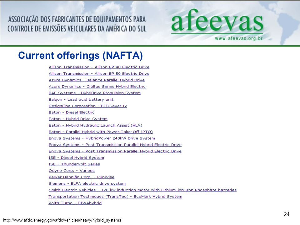 24 Current offerings (NAFTA) http://www.afdc.energy.gov/afdc/vehicles/heavy/hybrid_systems