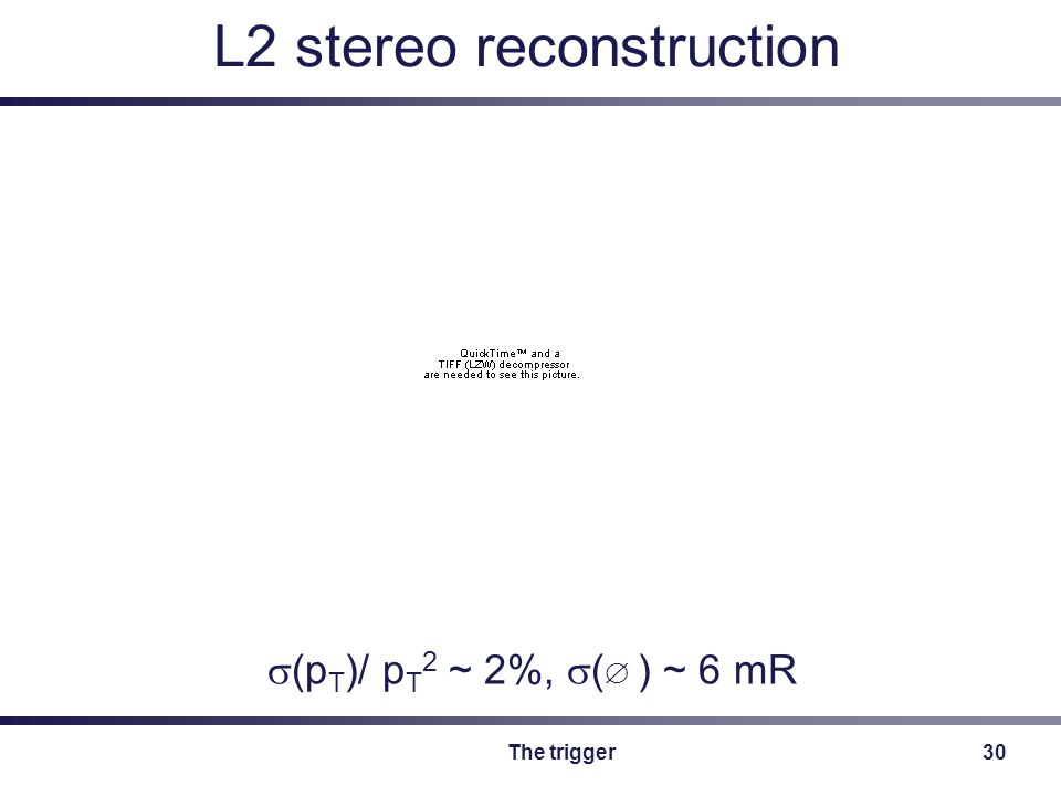 The trigger30 L2 stereo reconstruction  (p T )/ p T 2 ~ 2%,  (  ) ~ 6 mR