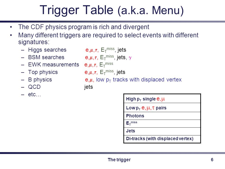 The trigger17 The history of the CMX trigger Level 1: –8 GeV central track