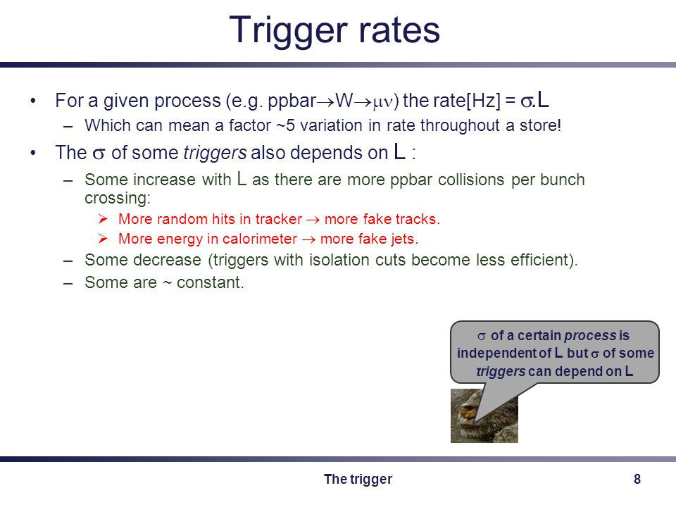 The trigger9 Prescales The rates of some triggers are too high to sustain at high L.