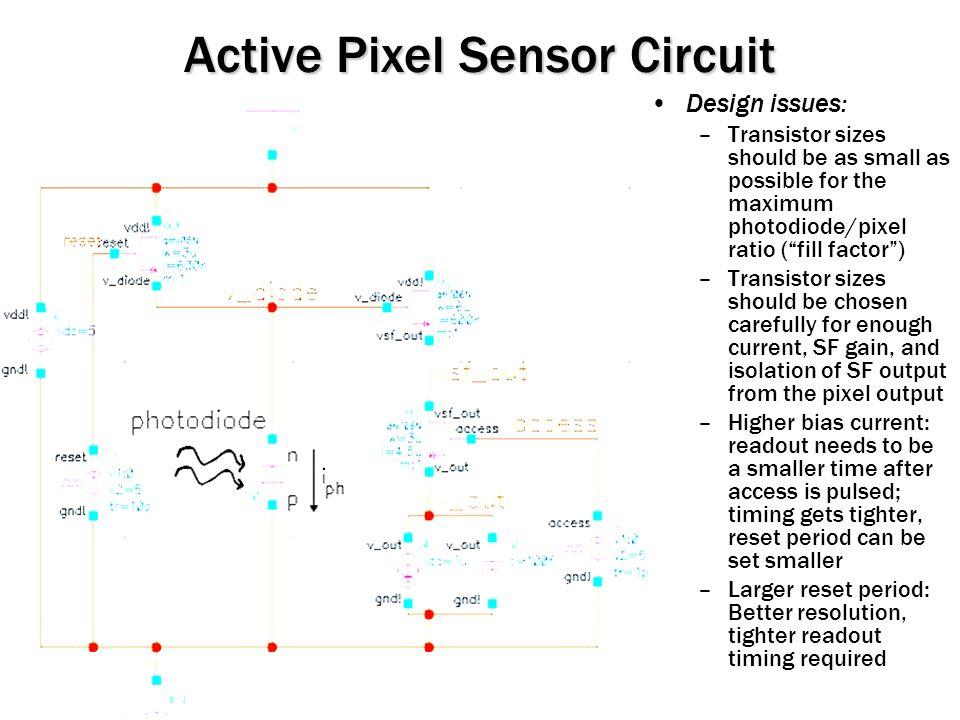 Active Pixel Sensor Circuit Can model photodiode with junction cap.