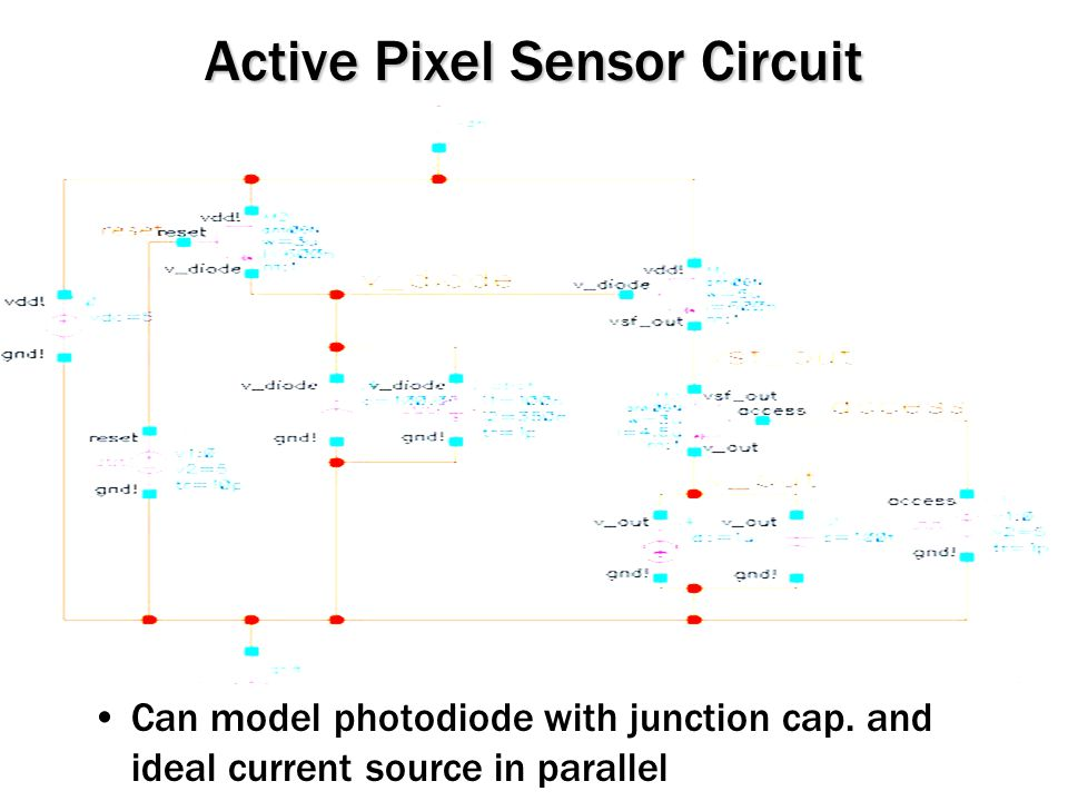Active Pixel Sensor Circuit Can model photodiode with junction cap.