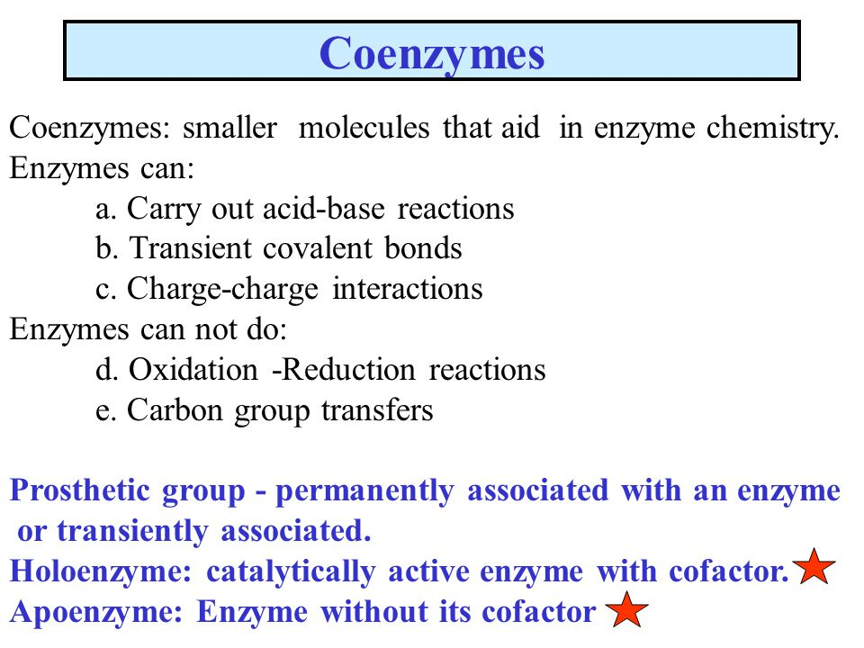 Coenzymes Coenzymes: smaller molecules that aid in enzyme chemistry.