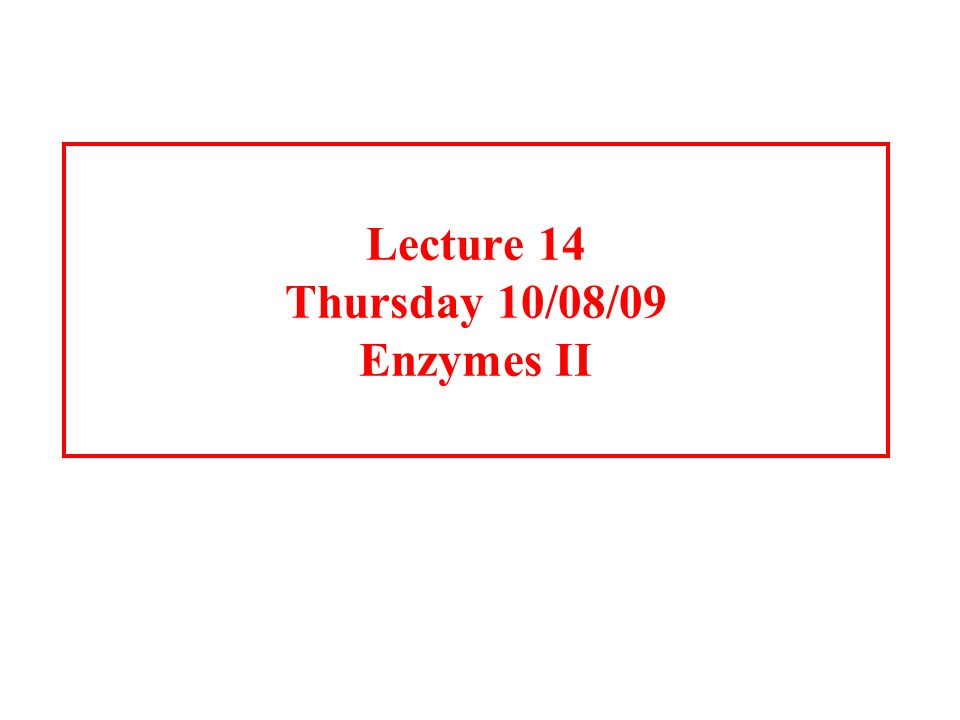 Lecture 14 Thursday 10/08/09 Enzymes II