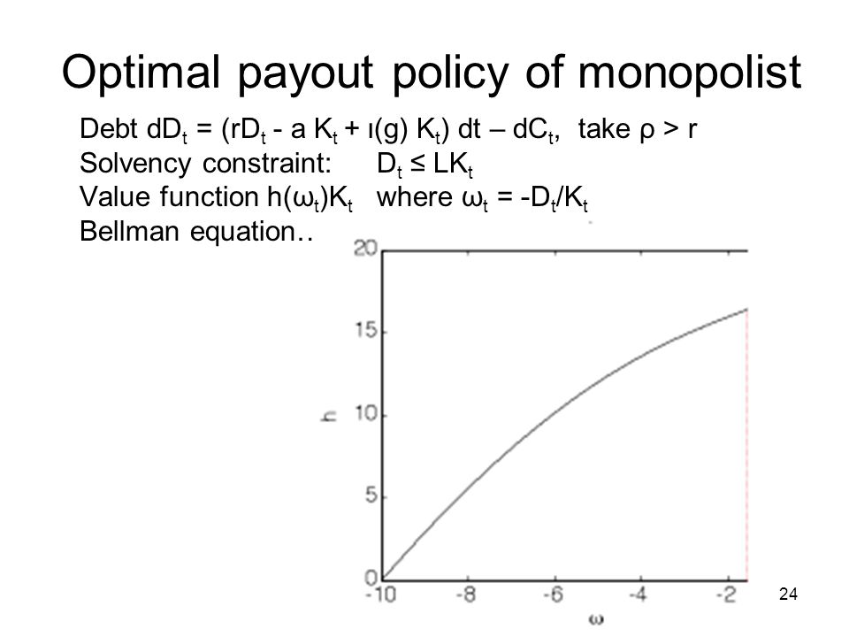 Optimal payout policy of monopolist Debt dD t = (rD t - a K t + ι(g) K t ) dt – dC t, take ρ > r Solvency constraint:D t ≤ LK t Value function h(ω t )