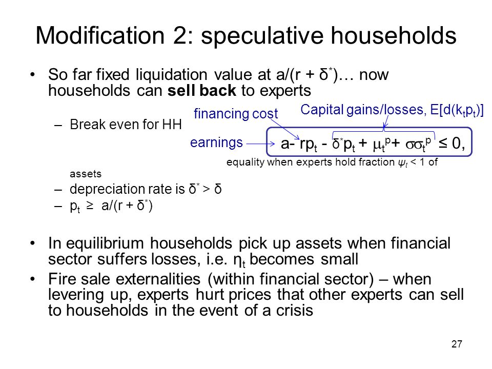 Modification 2: speculative households So far fixed liquidation value at a/(r + δ * )… now households can sell back to experts –Break even for HH a- r