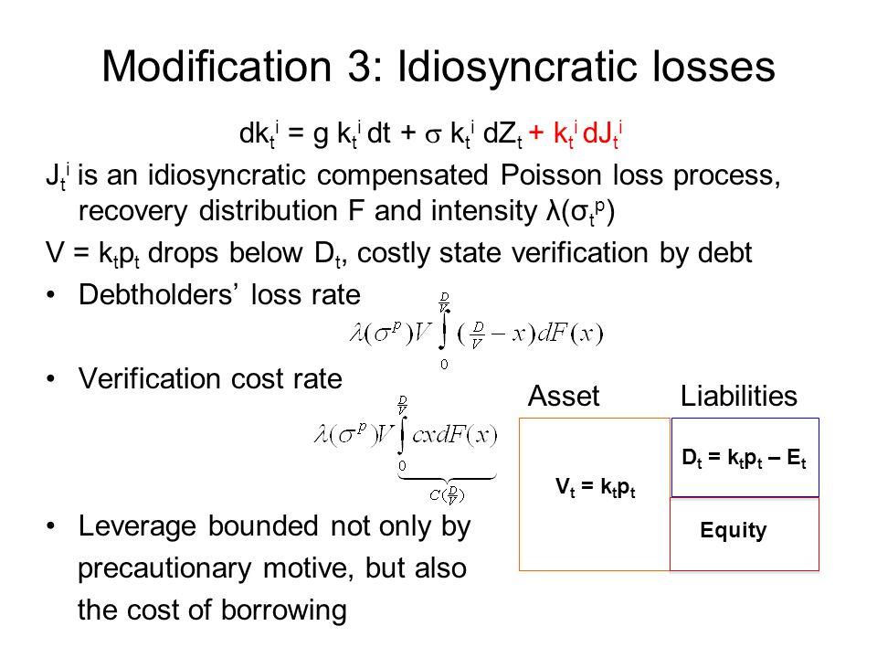 Modification 3: Idiosyncratic losses dk t i = g k t i dt +  k t i dZ t + k t i dJ t i J t i is an idiosyncratic compensated Poisson loss process, rec