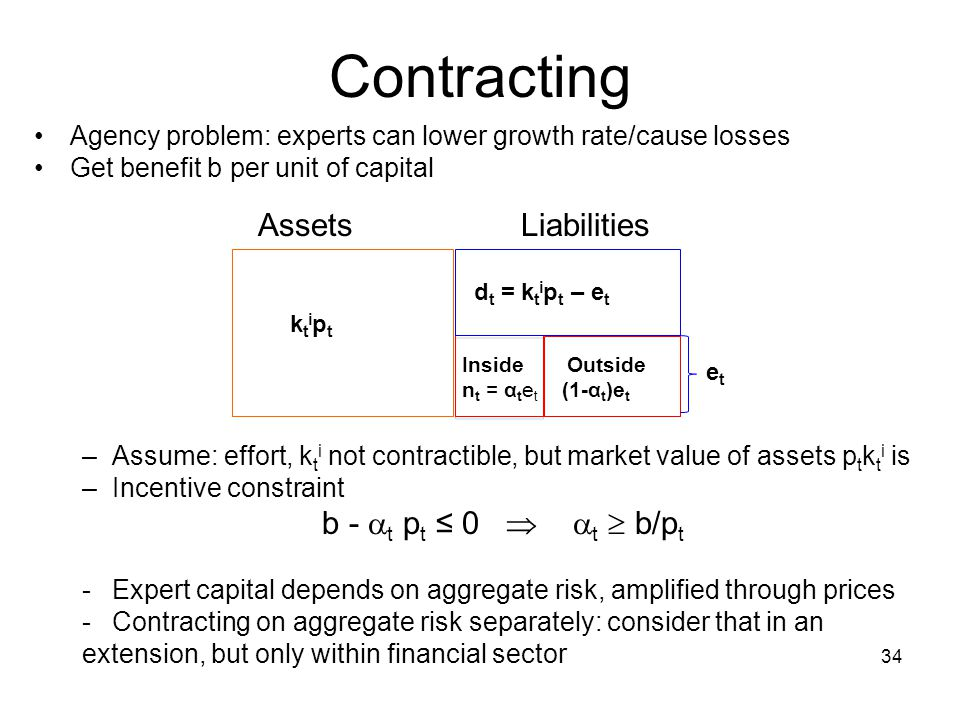 Contracting Agency problem: experts can lower growth rate/cause losses Get benefit b per unit of capital –Assume: effort, k t i not contractible, but