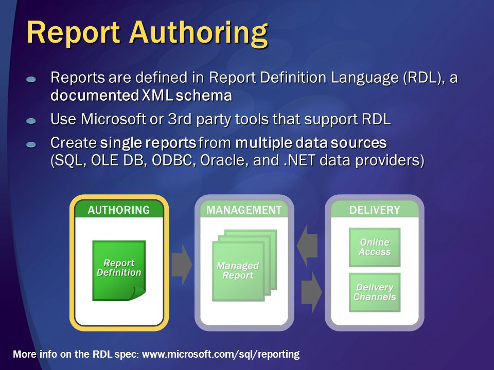 Report Authoring Reports are defined in Report Definition Language (RDL), a documented XML schema Use Microsoft or 3rd party tools that support RDL Create single reports from multiple data sources (SQL, OLE DB, ODBC, Oracle, and.NET data providers) More info on the RDL spec: www.microsoft.com/sql/reporting