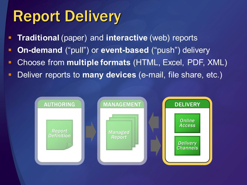 Report Models Models define entities, fields and roles available for Report Builder Models reference a data source (either SQL Server or Analysis Services) Models are stored in the Report Server as a new item type Includes new management APIs Published models can be secured Items within models (entities, fields, roles) can also be secured Users only see items they have permissions to see Model security and management through SQL Server Management Studio
