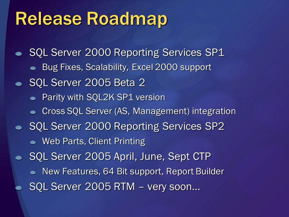 Release Roadmap SQL Server 2000 Reporting Services SP1 Bug Fixes, Scalability, Excel 2000 support SQL Server 2005 Beta 2 Parity with SQL2K SP1 version Cross SQL Server (AS, Management) integration SQL Server 2000 Reporting Services SP2 Web Parts, Client Printing SQL Server 2005 April, June, Sept CTP New Features, 64 Bit support, Report Builder SQL Server 2005 RTM – very soon…