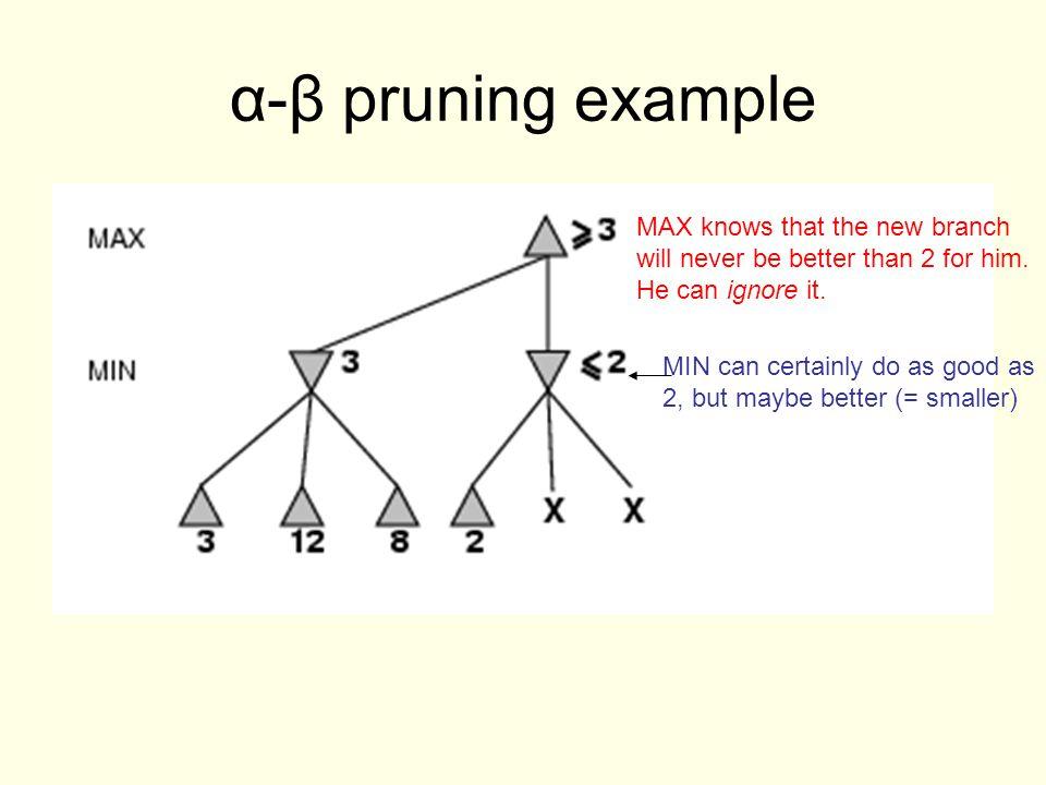 α-β pruning example MIN can certainly do as good as 2, but maybe better (= smaller) MAX knows that the new branch will never be better than 2 for him.