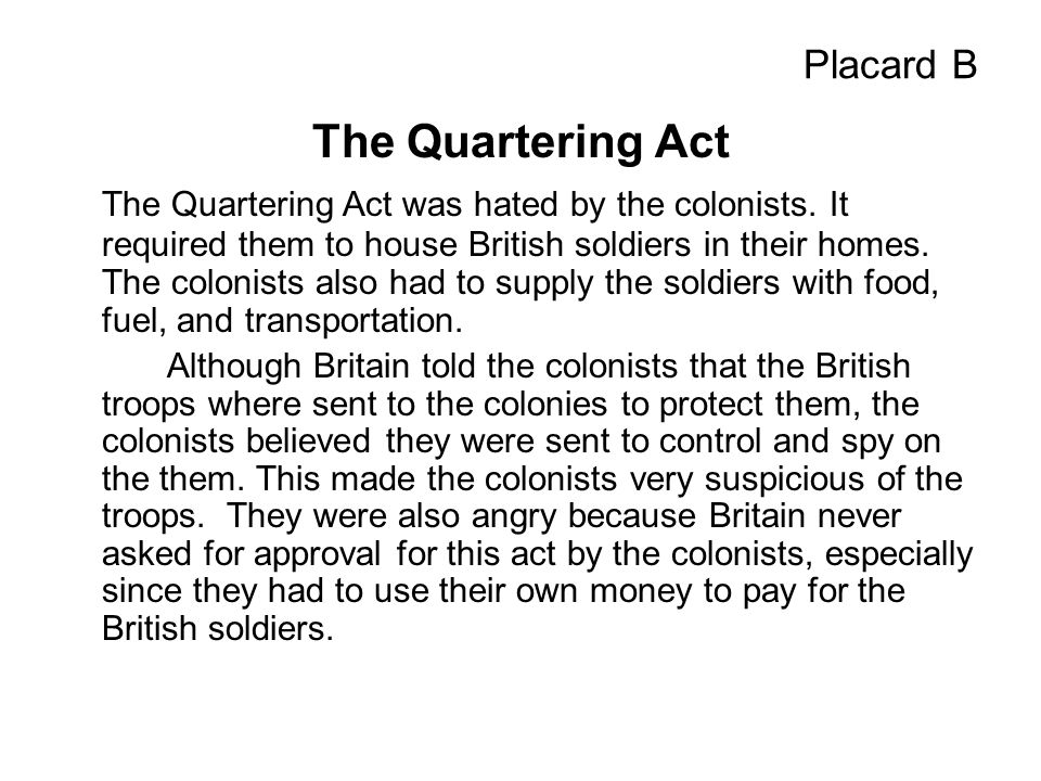Picture B The Quartering Act