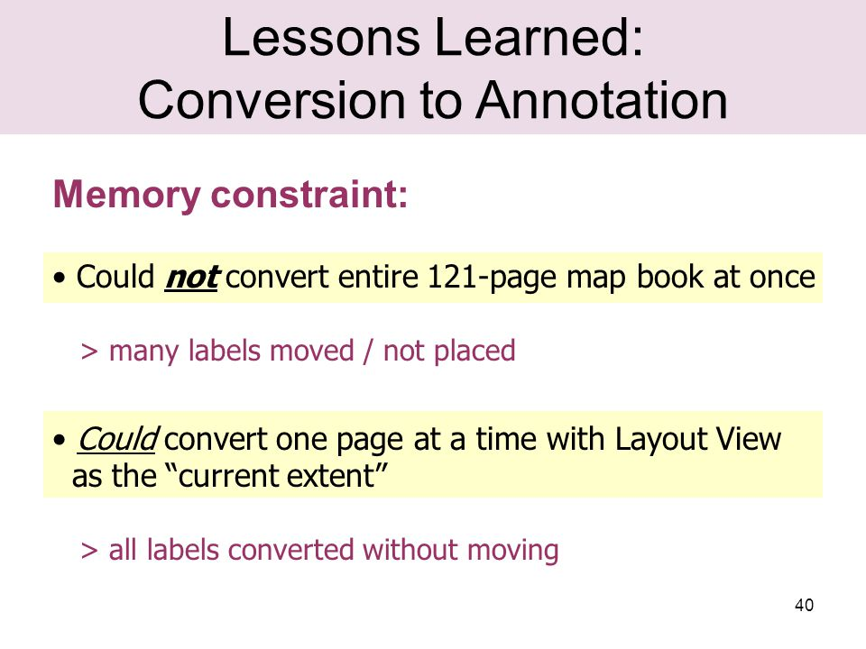 40 Lessons Learned: Conversion to Annotation Memory constraint: Could not convert entire 121-page map book at once > many labels moved / not placed Could convert one page at a time with Layout View as the current extent > all labels converted without moving