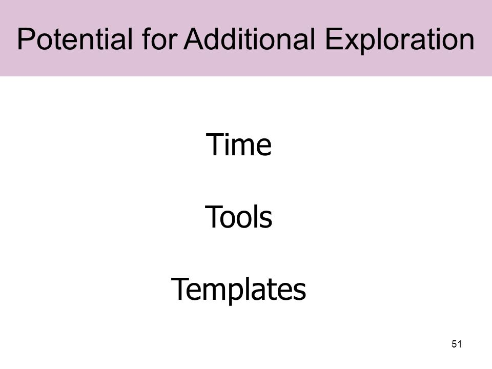 51 Potential for Additional Exploration Time Tools Templates