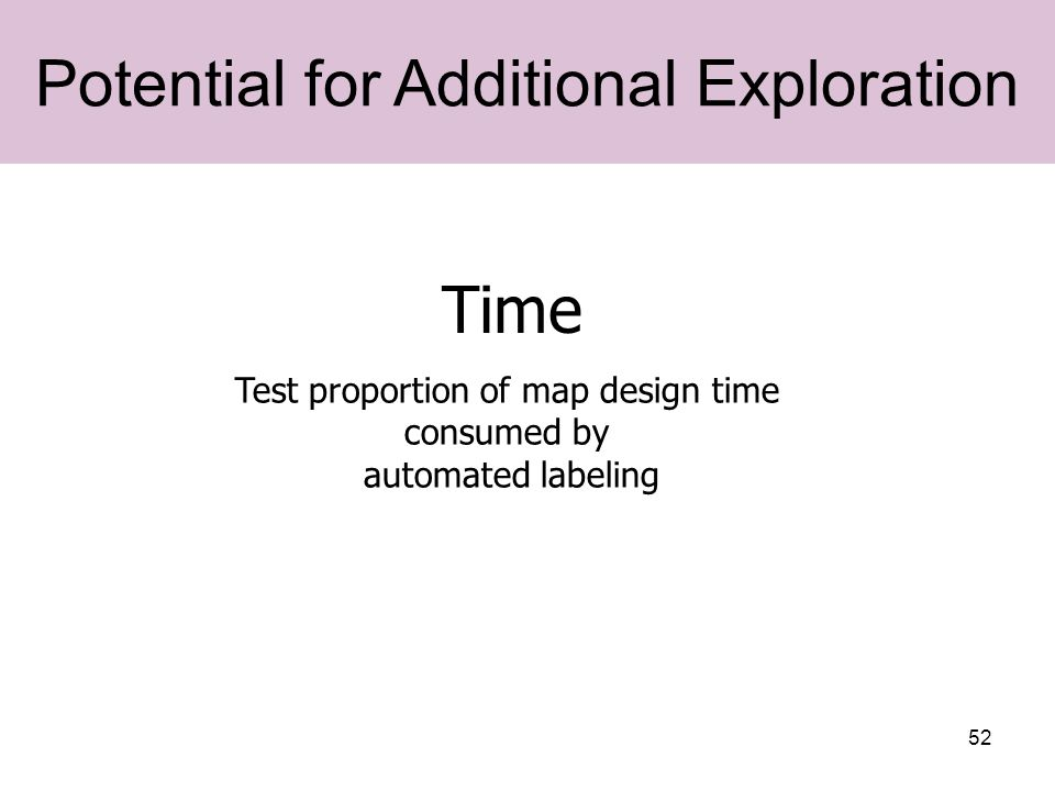 52 Time Potential for Additional Exploration Test proportion of map design time consumed by automated labeling