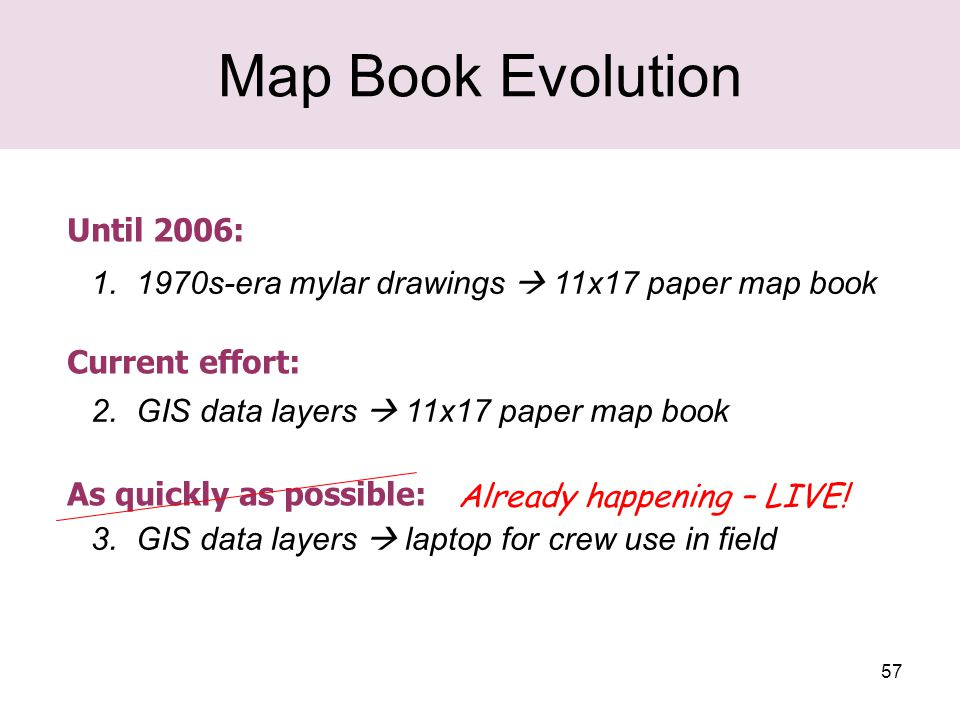 57 Map Book Evolution 1. 1970s-era mylar drawings  11x17 paper map book 2.