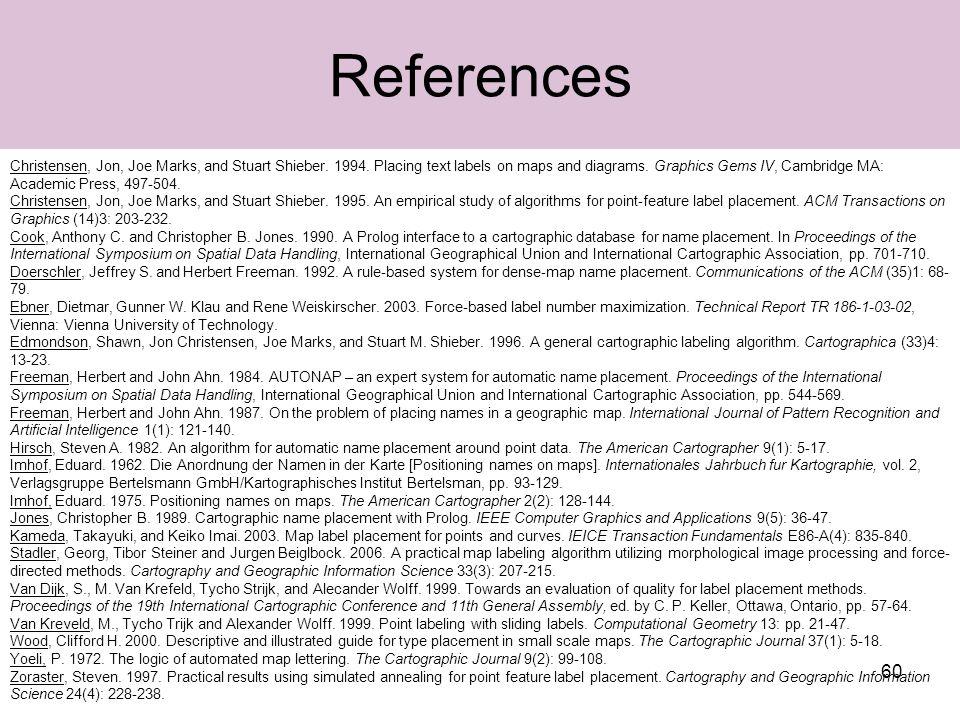 60 References Christensen, Jon, Joe Marks, and Stuart Shieber.