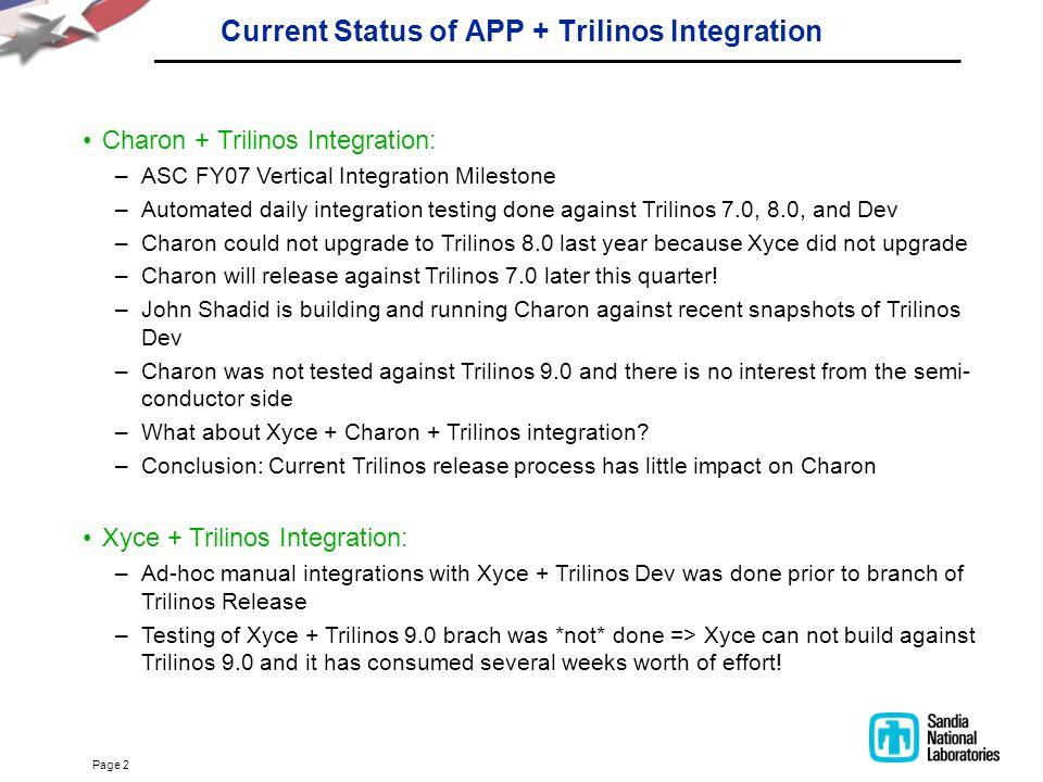 Page 2 Current Status of APP + Trilinos Integration Charon + Trilinos Integration: –ASC FY07 Vertical Integration Milestone –Automated daily integrati