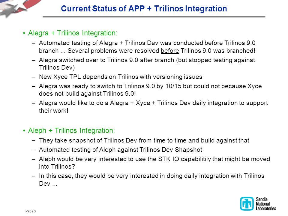 Page 3 Current Status of APP + Trilinos Integration Alegra + Trilinos Integration: –Automated testing of Alegra + Trilinos Dev was conducted before Tr