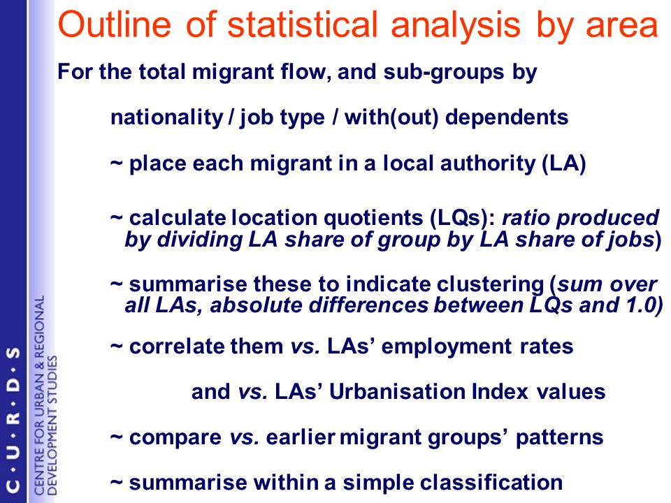 Outline of statistical analysis by area For the total migrant flow, and sub-groups by nationality / job type / with(out) dependents ~ place each migrant in a local authority (LA) ~ calculate location quotients (LQs): ratio produced by dividing LA share of group by LA share of jobs) ~ summarise these to indicate clustering (sum over all LAs, absolute differences between LQs and 1.0) ~ correlate them vs.