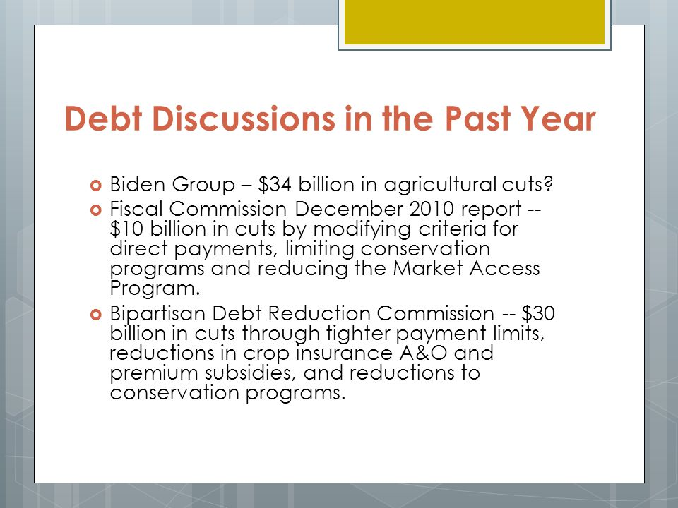 Debt Discussions in the Past Year  Biden Group – $34 billion in agricultural cuts.