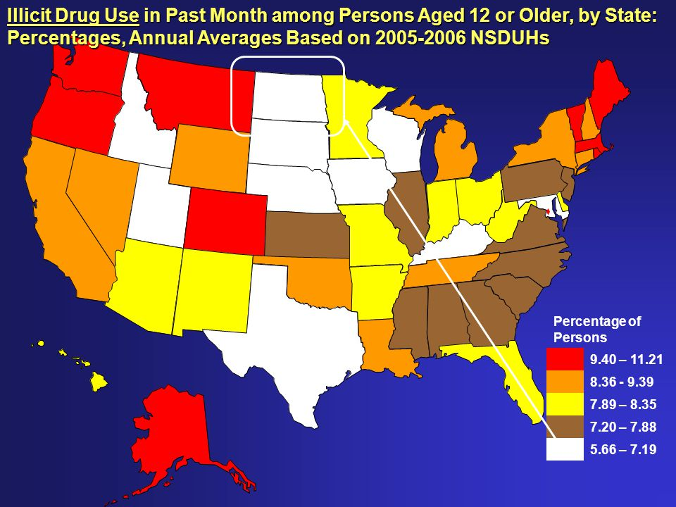 Percentage of Persons 9.40 – 11.21 8.36 - 9.39 7.89 – 8.35 7.20 – 7.88 5.66 – 7.19 Illicit Drug Use in Past Month among Persons Aged 12 or Older, by State: Percentages, Annual Averages Based on 2005-2006 NSDUHs