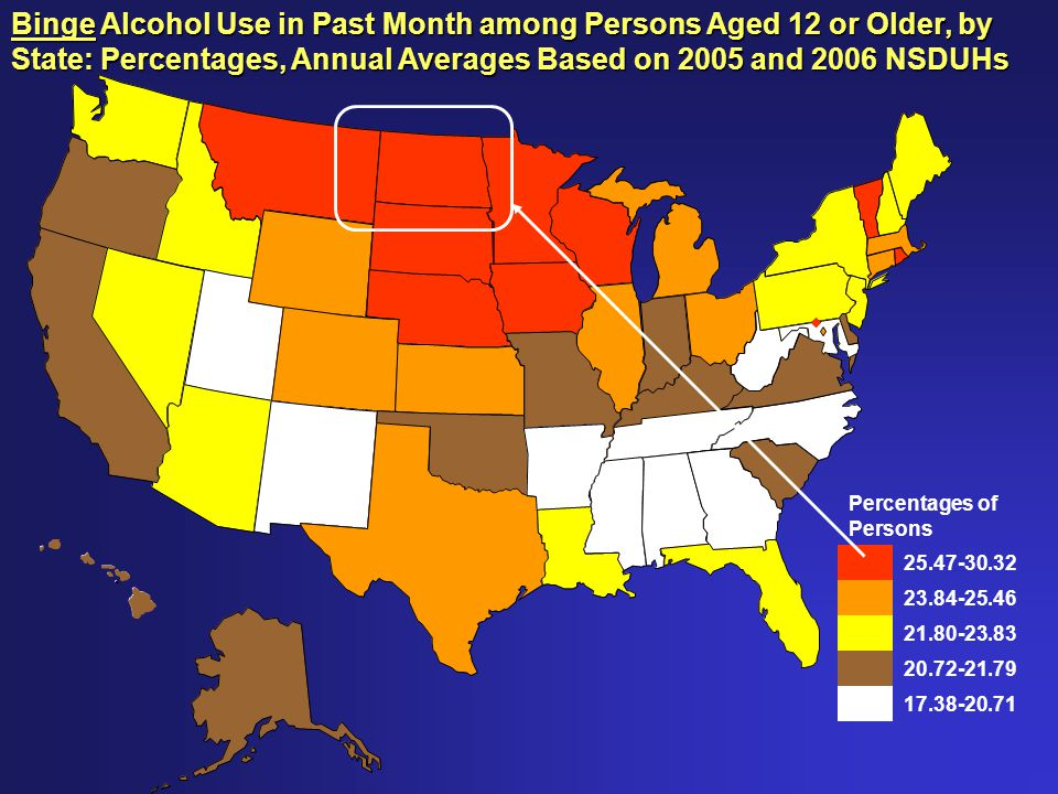 Percentages of Persons 25.47-30.32 23.84-25.46 21.80-23.83 20.72-21.79 17.38-20.71 Binge Alcohol Use in Past Month among Persons Aged 12 or Older, by State: Percentages, Annual Averages Based on 2005 and 2006 NSDUHs