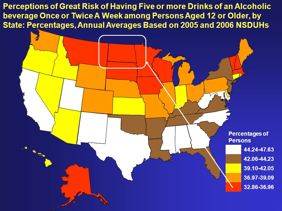 Percentages of Persons 44.24-47.63 42.06-44.23 39.10-42.05 36.97-39.09 32.86-36.96 Perceptions of Great Risk of Having Five or more Drinks of an Alcoholic beverage Once or Twice A Week among Persons Aged 12 or Older, by State: Percentages, Annual Averages Based on 2005 and 2006 NSDUHs