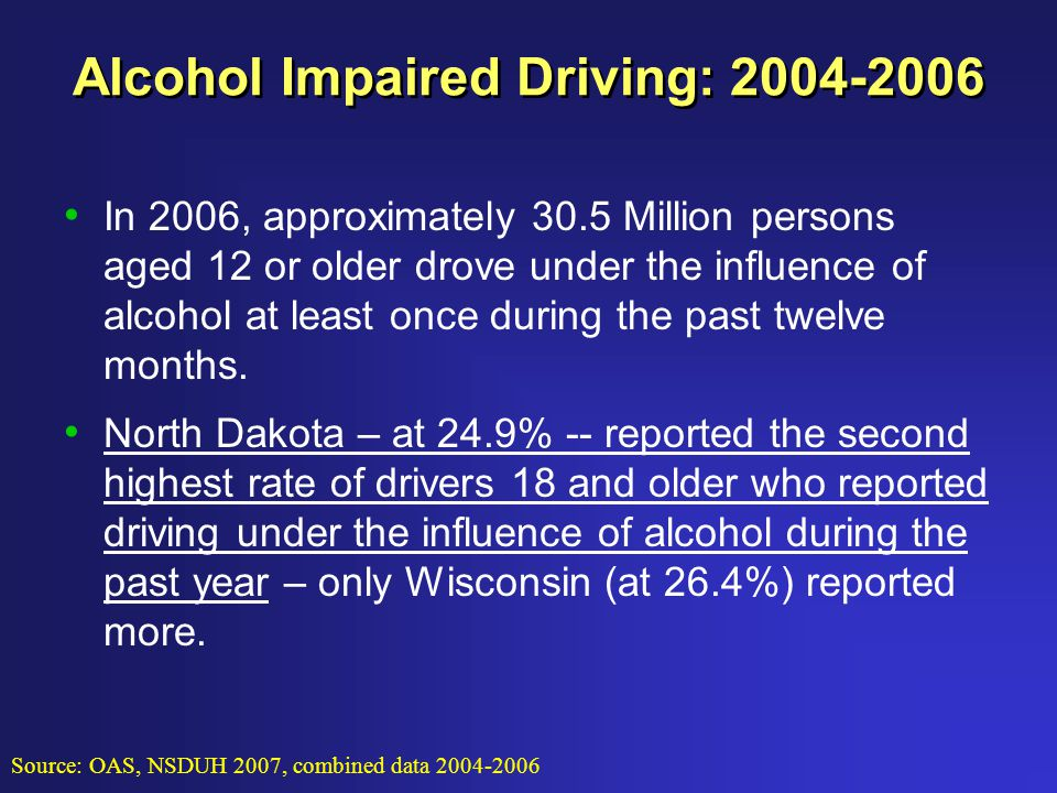Alcohol Impaired Driving: 2004-2006 In 2006, approximately 30.5 Million persons aged 12 or older drove under the influence of alcohol at least once during the past twelve months.
