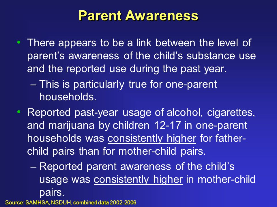 Parent Awareness There appears to be a link between the level of parent's awareness of the child's substance use and the reported use during the past year.