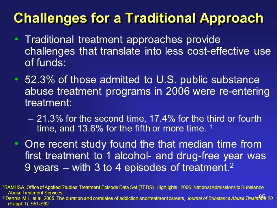65 Challenges for a Traditional Approach Traditional treatment approaches provide challenges that translate into less cost-effective use of funds: 52.3% of those admitted to U.S.