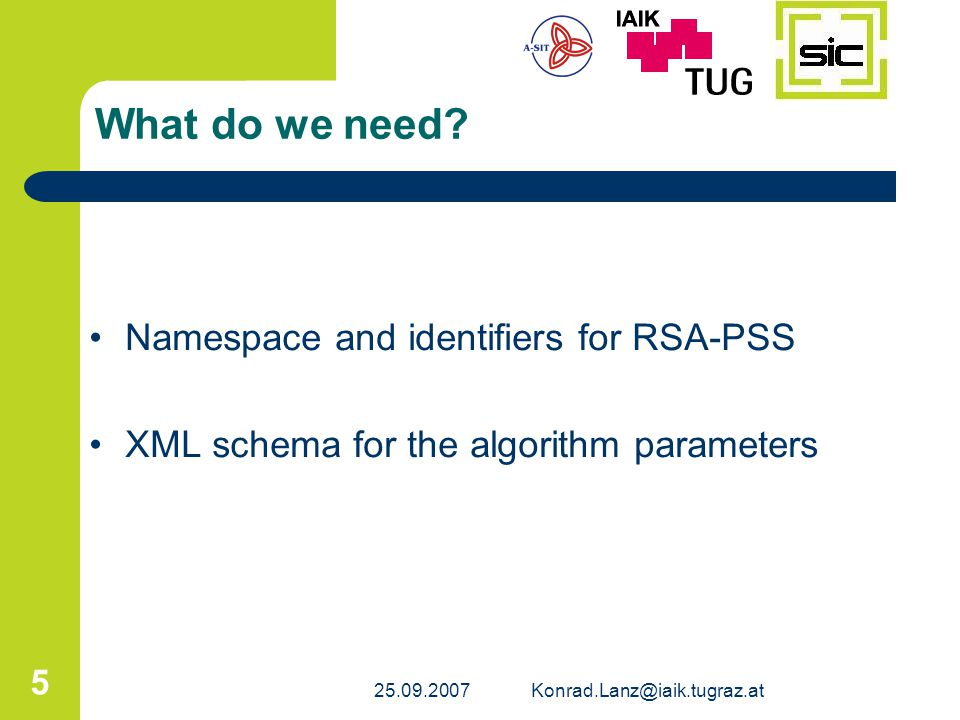 25.09.2007Konrad.Lanz@iaik.tugraz.at 5 What do we need? Namespace and identifiers for RSA-PSS XML schema for the algorithm parameters