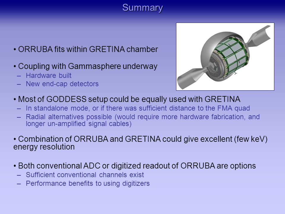 ORRUBA fits within GRETINA chamber Coupling with Gammasphere underway –Hardware built –New end-cap detectors Most of GODDESS setup could be equally used with GRETINA –In standalone mode, or if there was sufficient distance to the FMA quad –Radial alternatives possible (would require more hardware fabrication, and longer un-amplified signal cables) Combination of ORRUBA and GRETINA could give excellent (few keV) energy resolution Both conventional ADC or digitized readout of ORRUBA are options –Sufficient conventional channels exist –Performance benefits to using digitizersSummary