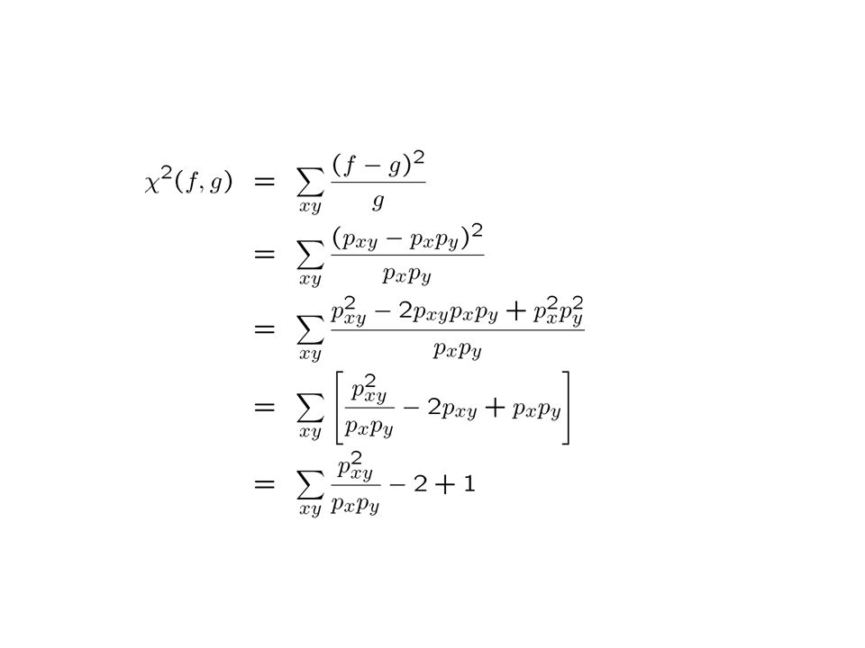   2 is Pearson's statistic  0 ·  2 · K-1   2( ,  ') = K-1 iff  =  '  measures how close are two clusterings  define distance  Theorem For any S and any clusterings ,  ' with K clusters (M & Xu, 03) Stability of the best clustering