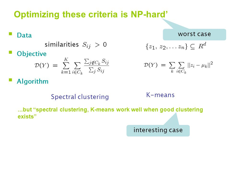 Optimizing these criteria is NP-hard'  Data  Objective  Algorithm similarities Spectral clustering K-means...but spectral clustering, K-means work well when good clustering exists worst case interesting case This talk: If a good clustering exists, it is unique If good clustering found, it is provably good