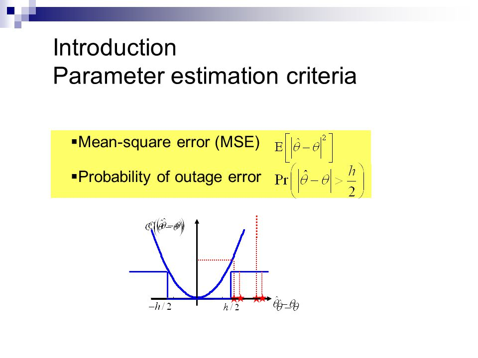  Mean-square error (MSE)  Probability of outage error Introduction Parameter estimation criteria
